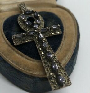 Vtg-Sterling-Silver-Necklace-Pendant-Amethyst-Marcasite-Egyptian-Revival-Ankh