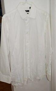 Men-039-s-HUGO-BOSS-Black-Label-Regular-Fit-Striped-White-Dress-Shirt-15-5-x-32-33