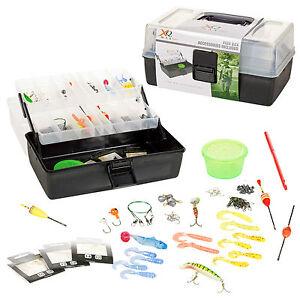 Fishing-Tackle-Box-2-Plateau-Cantilever-Carry-Case-avec-appat-Hamecons-Accessoires