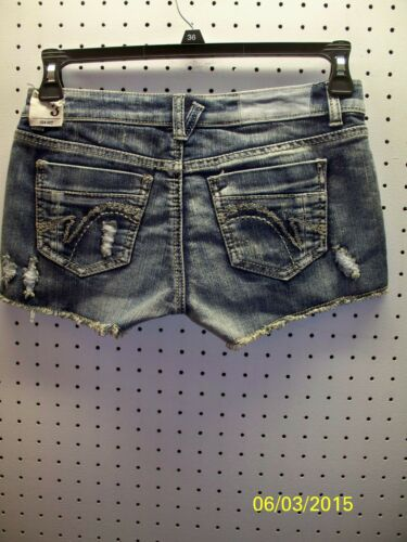 Vanilla Star Jr Blue Denim Shorts Lace Trim Destructed  Raw Hem FREE Shpg NWTA
