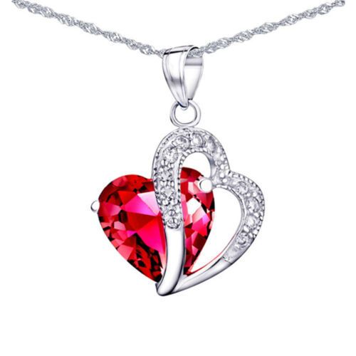 Sterling Silver 5.66 Ct Created Red Ruby Heart Shaped Gemstone Pendant Necklace