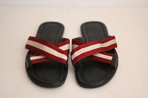 60856e7ff80b Image is loading Bally-Bonks-Trainspotting-Stripe-Fabric-Slide-Sandal-Red-