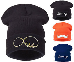 Oversized Cap Warm Knitted  Unisex Woolly Slouch Winter Mens Ladies Beanie Hat