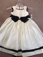 Girls Size 6 Sleeveless Cream Black Dorissa Party Dress Retail 56