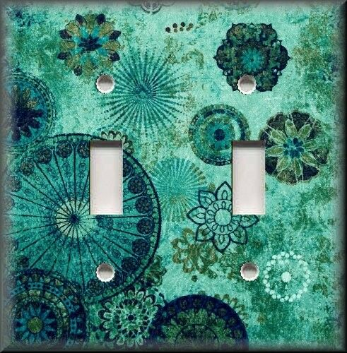 Metal Light Switch Plate Cover - Gypsy Boho Medallions Boho Home Decor Teal