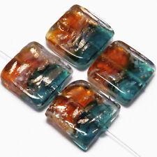 Lot de 4 Perles en Verre Lampwork Murano Carrées 20mm Bleu Topaze