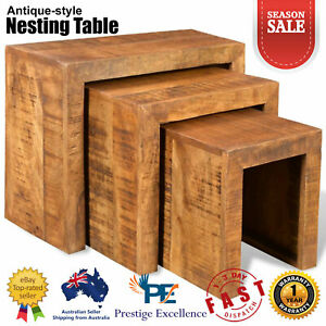 Set-of-3-Nesting-Coffee-Table-Living-Room-Lamp-Plant-Stands-Solid-Mango-Wood-NEW