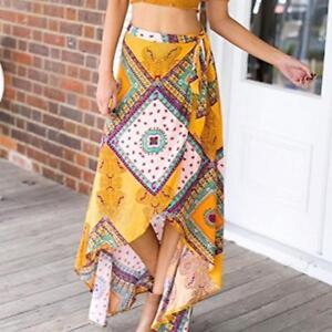 Women-039-s-High-waisted-Boho-Asymmetrical-Hem-Tie-up-Long-Maxi-Print-Wrap-Skirt