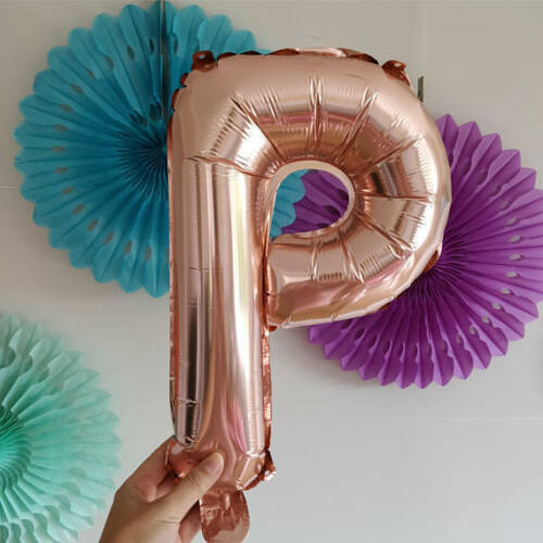"""50 /& FABULOUS Rose Gold Silver 3d Letters 16/"""" Balloons Birthday Banner Garland"""