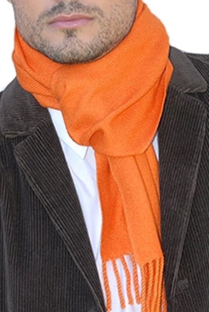 Balldiri 100% Cashmere Schal 200 x 35 cm 4-fädig gewebt Orange
