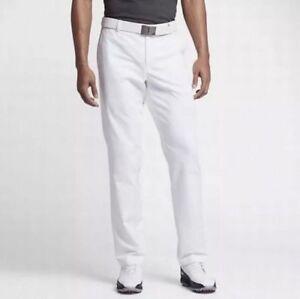 ed6d8e0cf682 Nike Men Flat Front Stretch Woven Golf Pants 833192 100 White ...