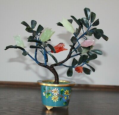 Antique Vintage Chinese Jade Bonsai Tree In Cloisonne Flower Pot 687 Ebay