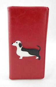 Red-Vegan-Faux-Leather-Bifold-Wallet-Dachshund-Piebald-Applique-Black-White