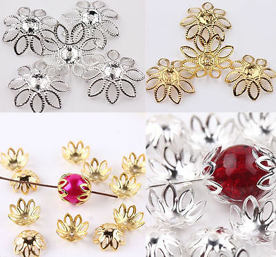 New 500pcs Metal Flower Hollow Bead Caps 6mm 5Colour For Jewelry Necklace Making
