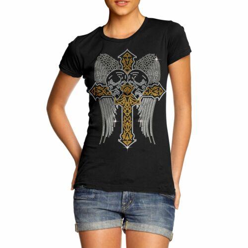 Women/'s Gothic Cross With Skull Rhinestone Diamante T-Shirt