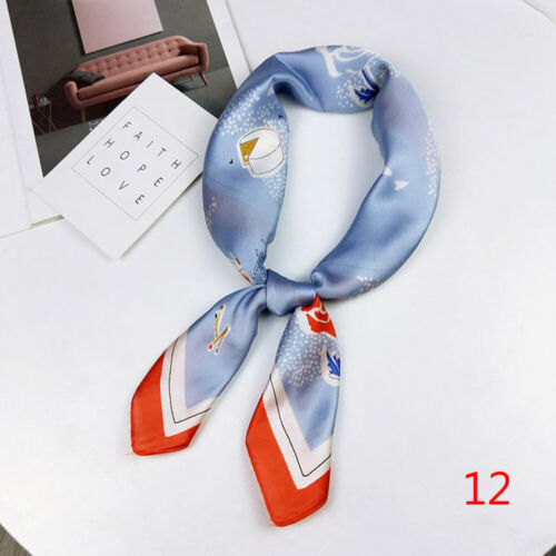 Wraps Head Neck Tie Small Scarves Square Scarf Silk Feel Satin Floral Print