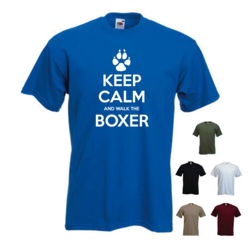 S-XXL Mens funny Pet Dog /'Keep Calm and Walk the Boxer/' gift T-shirt