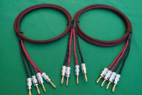 10 Ft 2 to 4 Banana Elite Pure Copper BiWire Speaker Cable 1 Pair USA MADE.