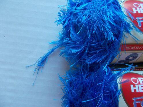 lot of 2 89 yds ea Red Heart Foxy eyelash fashion yarn Bright Blue