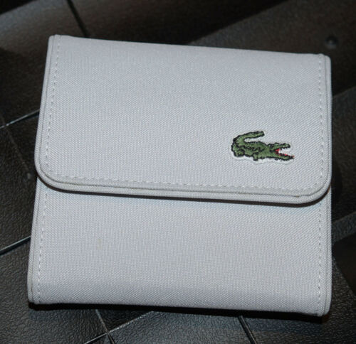 New Authentic Vinatge LACOSTE Unisex Coin WALLET Polyester Csl 2.4 Pearl Grey