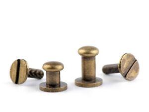 6-mm-Sattelniete-in-2-Laengen-Knopfschraube-Kopfschraubnieten-Taschenknopf
