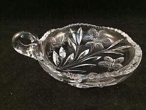 Scalloped-Glass-Dish-Bowl-w-Handle-Butterfly-Pattern-6-034-Diameter-1-1-2-034-Depth