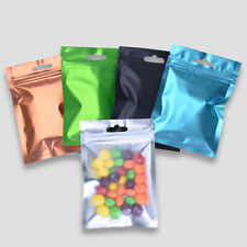200x New Customized Clear//Silver Zipper Pouch Mylar Aluminum Foil Hang Hole Bags