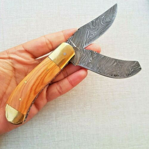 Damastmesser Doppelklinge Taschenmesser 20 cm Handgefertigt Klappmesser FK19
