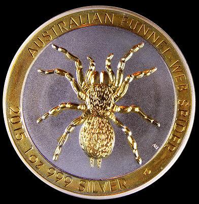 2015 1 oz. Australian Funnel-web Spider .999 Silver Gilded Edition  Free Ship