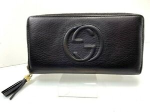 GUCCI-Soho-Interlocking-Round-Zippy-Leather-Long-wallet-Purse-Black-L821-132-9