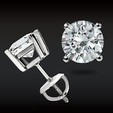 2.00 CT Round Earrings 14K Solid White Gold Basket Studs Brilliant Screw Back
