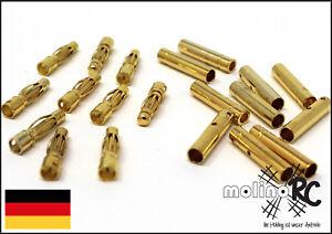20 Paar = 40 Stück Goldstecker Stecker + Buchse Lipo Akku Goldkontaktstecker 4mm