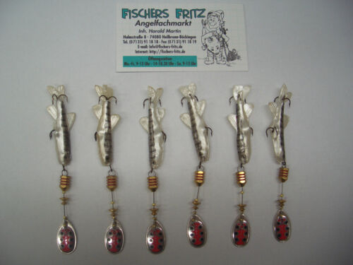 5 x Mepps Aglia TW with Fish 1 FREE Size 1 with 5g Silver 6 piece Spinner