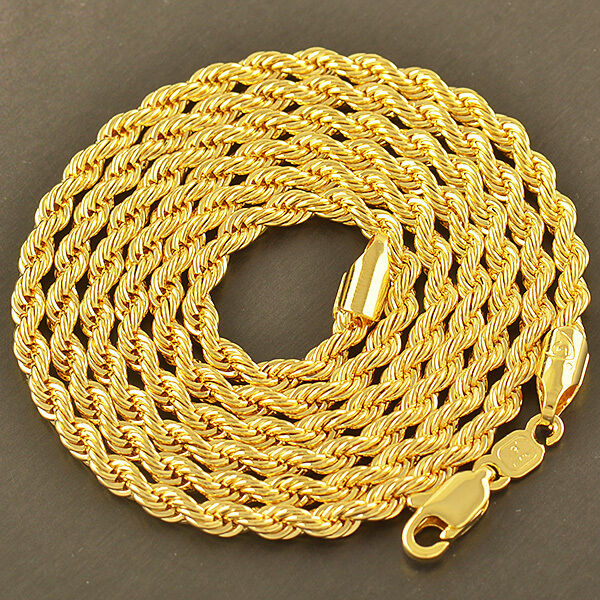 Cool 9K Yellow Gold Filled Men's Rope Chain Necklace 24 Inches/4MM,Z1907