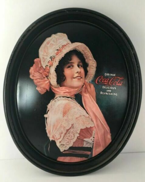 Coca Cola serving tray Coca Cola Vintage Coca-Cola Oval Metal Serving Tray 1914 Betty Girl Reproduction 12 12 w x 15 12 x 1 12 H