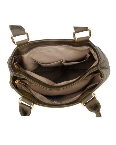 UK Women/'s Strap Detail Shoulder Bag With Two Compartments//Designer Shoulder Bag