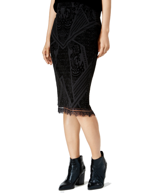 Bar III Womens Velvet-Burnout Pencil Skirt (Deep Black, Medium)