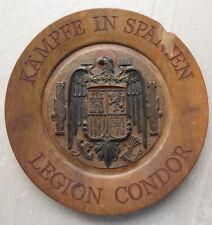 WWII German LUFTWAFFE LEGION CONDOR COMMEMORATIVE WOODEN PLATE SPAIN 1936-1939