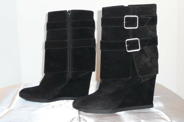 JUICY COUTURE 310  nero suede wedge mid calf buckles stivali 8 38