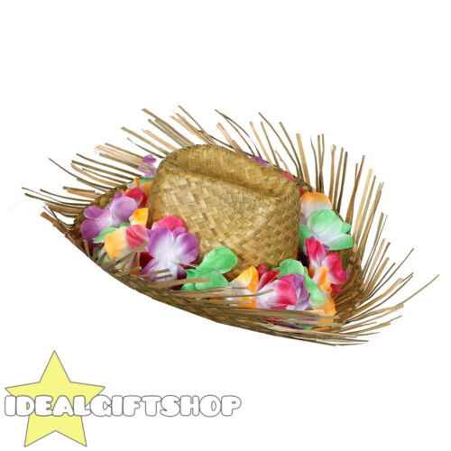 ADULTS BEACHCOMBER HAT WITH MULTI COLOR HAWAIIAN LEI TROPICAL BEACH FANCY DRESS