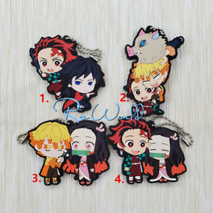 Anime-Demon-Slayer-Kimetsu-no-Yaiba-rubber-Keychain-Key-Ring-Race-Straps-cosplay