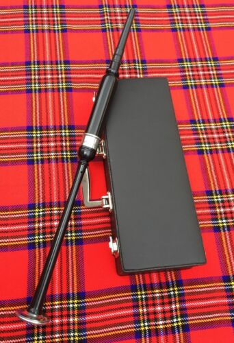 Scottish Highland Rosewood Silver Mounts Practice chanter carrying box+3 Reeds