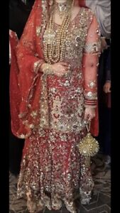 Details about Red Gold Wedding Dress Lengha Lehenga Asian Pakistani Indian  Bride Bridal