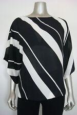 NWOT INC International Cpts Women's White Striped Baggy Sheer Tunic 14