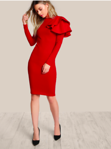 Red-One-Side-Tiered-Ruffle-Trim-Long-Sleeves-Cocktail-Pencil-Dress-Sz-XS-S-M-L