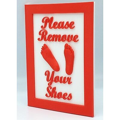 3D Printed Camper Cabin Sign: Please Remove Your Shoes 3D Custom Color Plaque