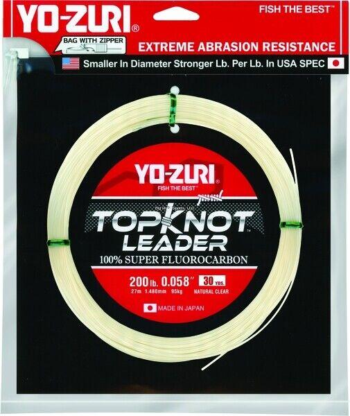 New Yo-Zuri Topknot Fluguldcarbon Leader 200Lb 30yd Clear TKLD200LL30YD