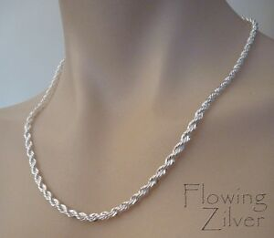 925-Sterling-Silver-Rope-Chain-Necklace-Fashion-Jewellery-SP-Unisex-costume-gift