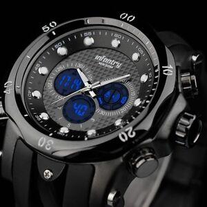INFANTRY-Mens-Digital-Quartz-Wrist-Watch-LCD-Chronograph-Sport-Army-Black-Rubber