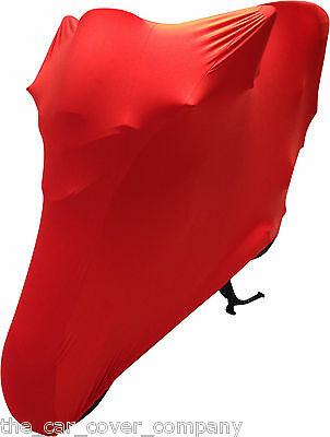 Super Soft Stretch Elasticated Indoor Motor bike Cover Red Personalised-L